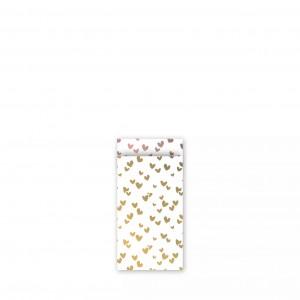 Papieren cadeauzakjes / inpakzakjes 'solo hearts' 7x13cm goud rose (per 5 stuks)