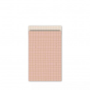Papieren cadeauzakjes / inpakzakjes 'wishing you the best' 12×19cm roze goud blush (per 5 stuks)