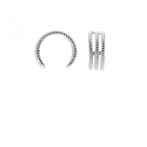 Karma earcuff plain triple twisted 925 Sterling Silver (1piece)