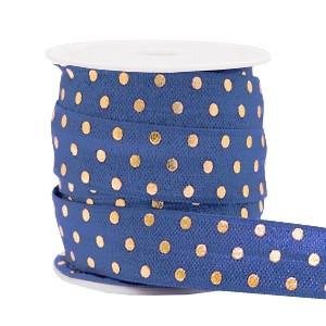 Plat elastisch lint 15mm dots dark blue (per 25cm)