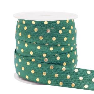 Plat elastisch lint 15mm dots petrol green (per 25cm)