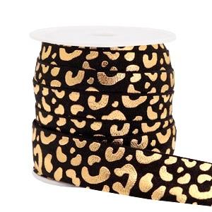 Plat elastisch lint 15mm leopard black (per 25cm)