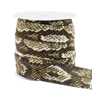 Plat elastisch lint 15mm snake camel-brown (per 25cm)