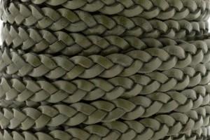 Plat gevlochten leer 5mm army green per 20cm