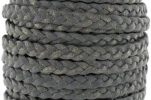 Plat gevlochten leer 5mm dark grey per 20cm