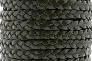 Plat gevlochten leer 5mm donker groen per 20cm