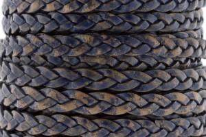 Plat gevlochten leer 5mm vintage donker blauw per 20cm