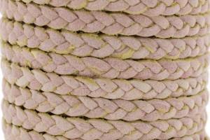 Plat gevlochten leer 5mm vintage licht roze per 20cm