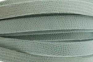 Plat leer met print 10mm lizard light blue per 20cm