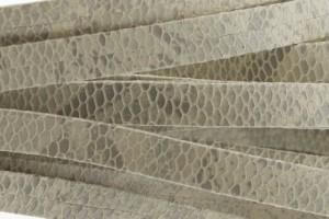 Plat leer met print 10mm snake beige grey per 20cm