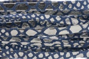Plat leer met print 5mm blue zilver per 20cm