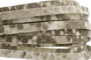 Plat leer met print 5mm croco beige per 20cm