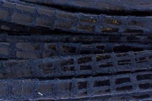 Plat leer met print 5mm lizard black per 20cm