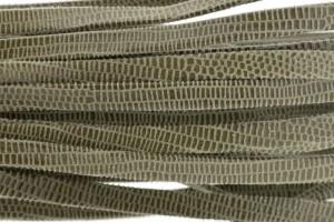 Plat leer met print 5mm lizard olive per 20cm