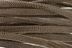Plat leer met print 5mm lizard taupe per 20cm