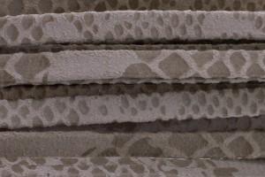 Plat leer met print 5mm python beige per 20cm