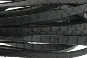 Plat leer met print 5mm python mat black per 20cm