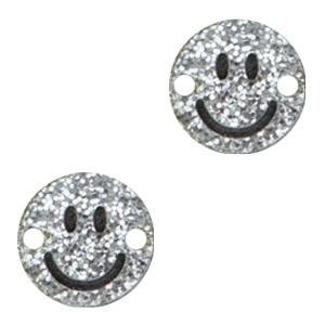 Plexx bedel tussenzetsel smiley rond hearts silver glitter 12mm
