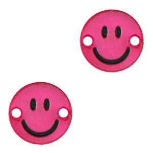 Plexx bedel tussenzetsel smiley rond magenta glitter 12mm
