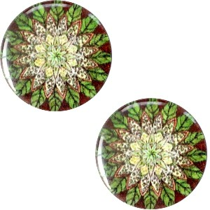 Polaris basic cabochon 12mm mandala multicolor groen