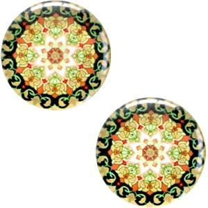 Polaris basic cabochon 12mm mandala multicolor zwart geel