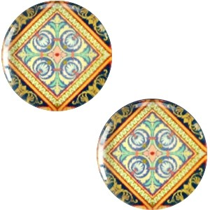 Polaris basic cabochon 12mm mandala multicolor zwart groen oranje