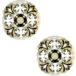 Polaris basic cabochon 20mm mandala multicolor beige wit zwart