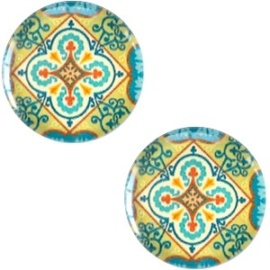 Polaris basic cabochon 20mm mandala multicolor blauw geel