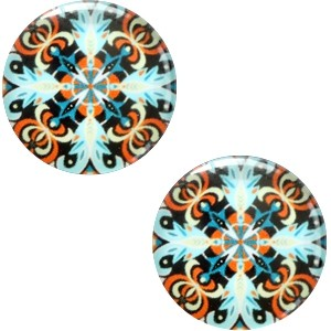 Polaris basic cabochon 20mm mandala multicolor blauw rood