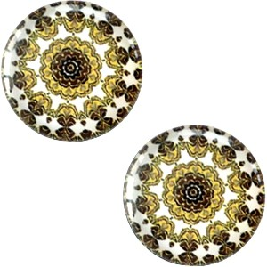 Polaris basic cabochon 20mm mandala multicolor bruin geel