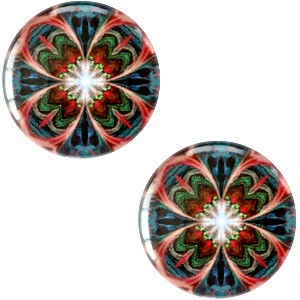 Polaris basic cabochon 20mm mandala multicolor donker blauw rood