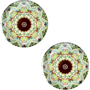 Polaris basic cabochon 20mm mandala multicolor groen bruin