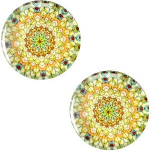 Polaris basic cabochon 20mm mandala multicolor groen geel