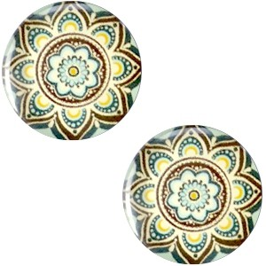 Polaris basic cabochon 20mm mandala multicolor mint geel bruin