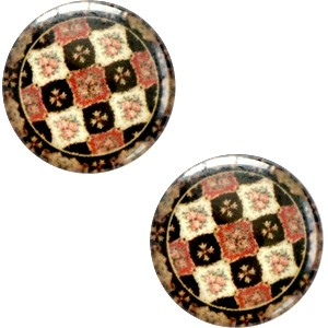 Polaris basic cabochon 20mm mandala multicolor rood zwart