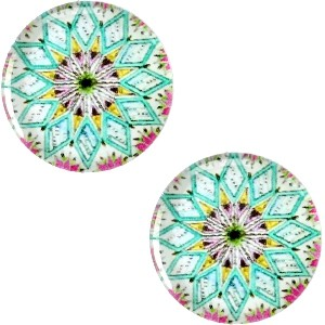 Polaris basic cabochon 20mm mandala multicolor turquoise wit