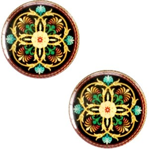 Polaris basic cabochon 20mm mandala multicolor zwart groen geel 2