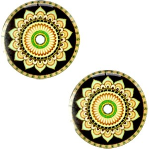 Polaris basic cabochon 20mm mandala multicolor zwart groen geel