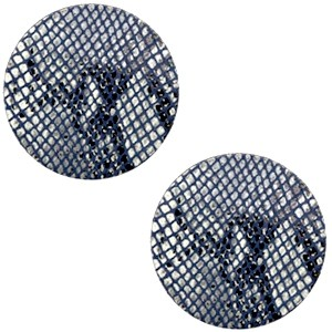 Polaris cabochon 12mm DQ leer snake dark blue