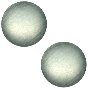 Polaris cabochon 12mm soft tone matt green grey