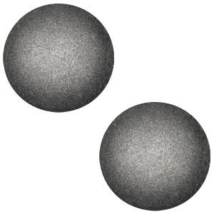 Polaris cabochon 12mm soft tone matt silver black