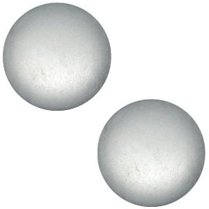 Polaris cabochon 12mm soft tone matt silver grey