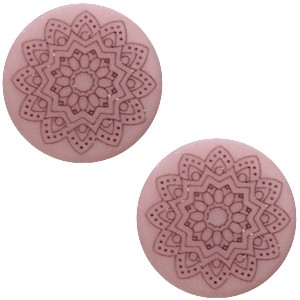 Polaris cabochon 20mm mandala print matt bridal rose