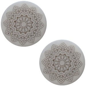 Polaris cabochon 20mm mandala print matt ice grey