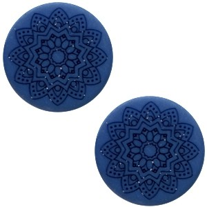 Polaris cabochon 20mm mandala print matt radiant blue