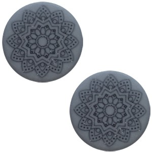 Polaris cabochon 20mm mandala print matt rustic blue