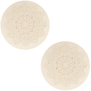 Polaris cabochon 20mm mandala print matt silk beige