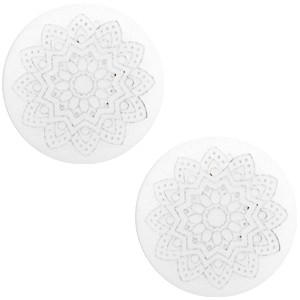 Polaris cabochon 20mm mandala print matt white