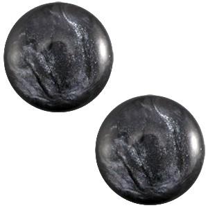 Polaris cabochon 7mm jais anthracite grey