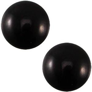 Polaris cabochon 7mm mosso shiny nero zwart